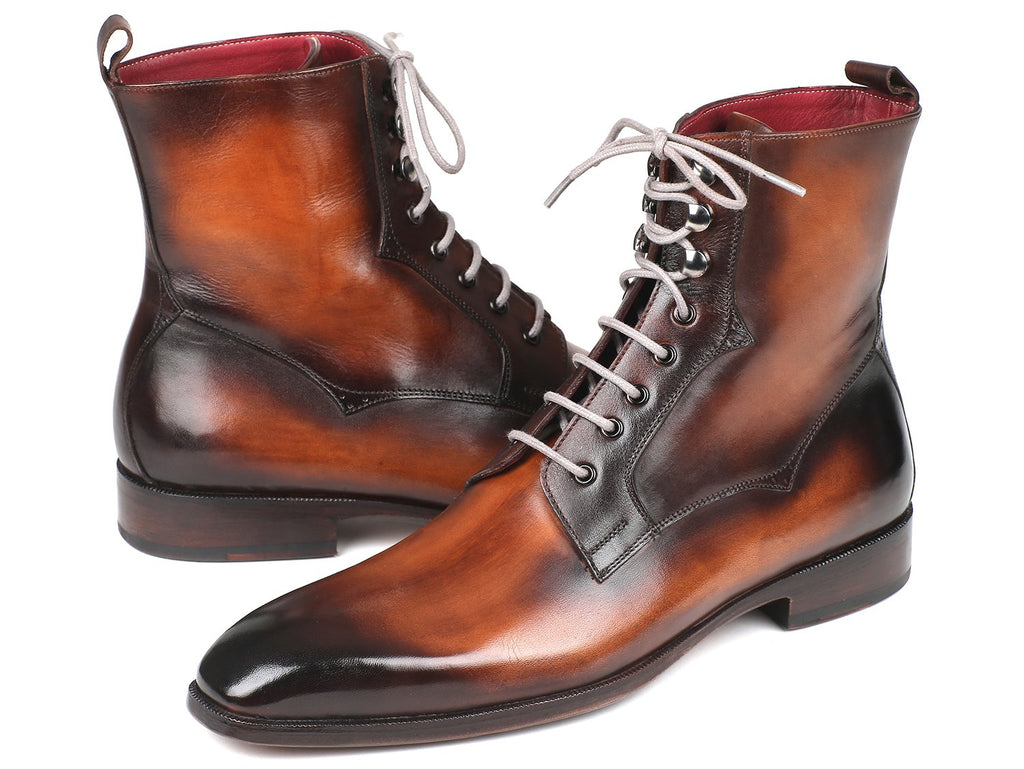 Paul Parkman Men's Brown Burnished Leather Lace-Up Boots