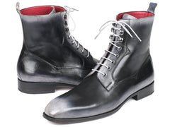 Paul Parkman Men's Gray Burnished Leather Lace-Up Boots