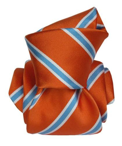 Orange with Light Blue Stripes Tie, 100% Silk, Italian Collection