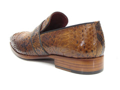 Paul Parkman Men's Genuine Python Loafers Camel