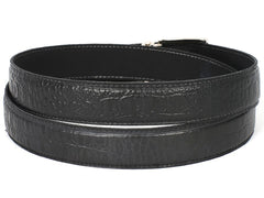 Paul Parkman Men's Crocodile Embossed Calfskin Leather Belt Hand-Painted, Black