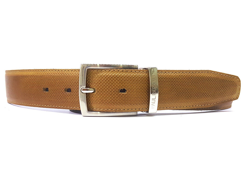 Paul Parkman Men's Perforated Leather Belt Beige