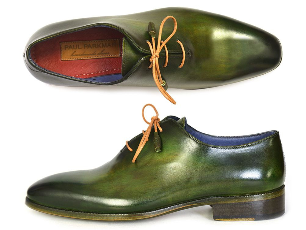 PAUL PARKMAN WHOLECUT PLAIN TOE OXFORDS GREEN HANPAINTED LEATHER