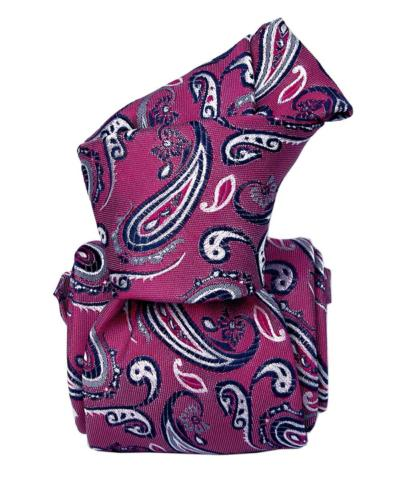Purple with Navy/White Paisley Design Tie, 100% Silk, Italian Collection