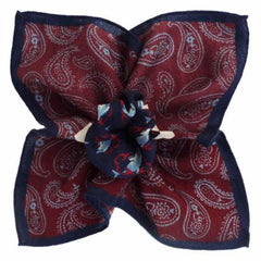 Paisley and Dolphins w/ Navy Border, Printed Design, Italian Collection - 100% Silk Pocket Square
