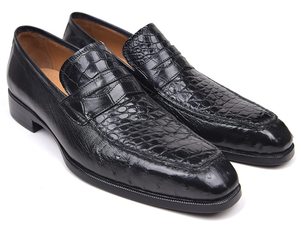 Paul Parkman Genuine Crocodile & Ostrich Penny Loafers, Black