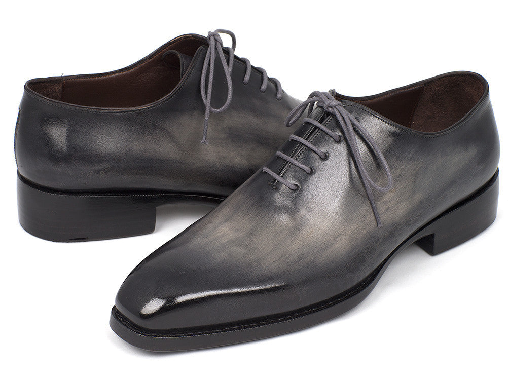 Paul Parkman Goodyear Welted Wholecut Oxfords Gray Black Hand-Painted