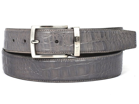 Paul Parkman Men's Crocodile Embossed Calfskin Leather Belt Hand-Painted Gray