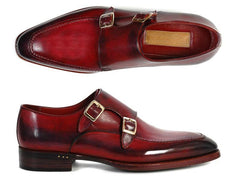 Paul Parkman Men's Double Monkstrap Shoes, Black & Bordeaux