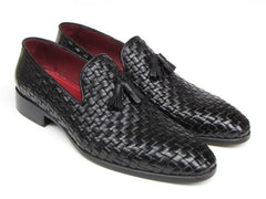 Paul Parkman Men's Woven Leather Tassel Loafer - Black