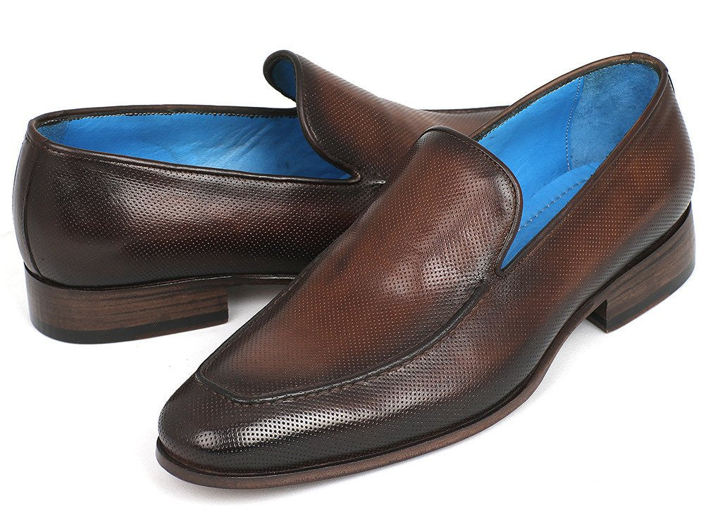 Paul Parkman Perforated Leather Loafers Brown