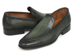 Paul Parkman Perforated Leather Loafers Green