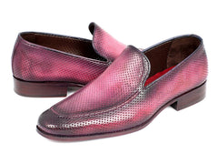 Paul Parkman Perforated Leather Loafers Purple