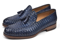 Paul Parkman Woven Leather Tassel Loafers, Navy