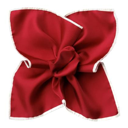 Red w/ White Border, Italian Collection - 100% Silk Pocket Square
