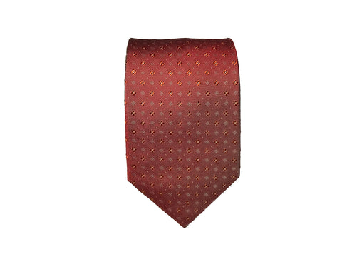 Red with Geometric Designs - 100% Silk Woven Tie