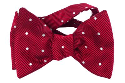 Red with White Dots, Italian Collection, 100% Silk Woven Bow Tie (Self Tie)