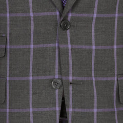 Grey Windowpane - Super 110 / 100% Wool