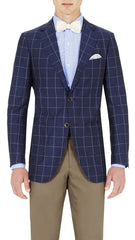 Blue Windowpane - 55% Wool 45% Linen