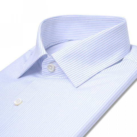 Light Blue Stripes Custom Shirt Fabric - 100% Cotton