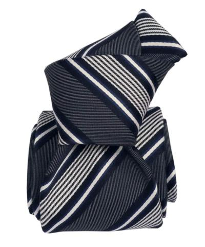 Shades of Blue and White Stripes, Italian Collection - 100% Silk Woven Tie