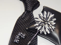 Black and White Silk Knot Cuff Links