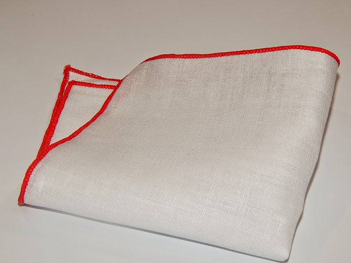 WHITE LINEN POCKET SQUARE WITH RED BORDER