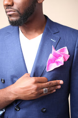 Pink with White Dots, 100% Silk Pocket Square