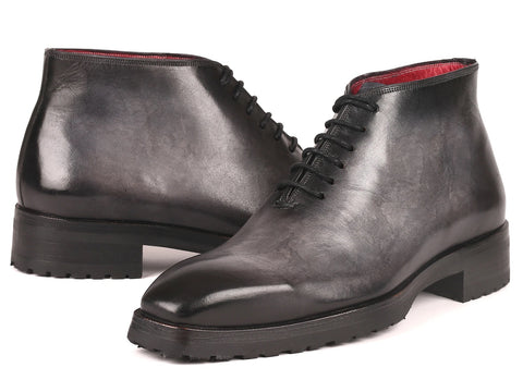 Paul Parkman Men's Gray Leather Ankle Boots