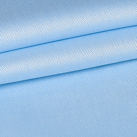 Blue Herringbone Custom Shirt Fabric - 100% Cotton