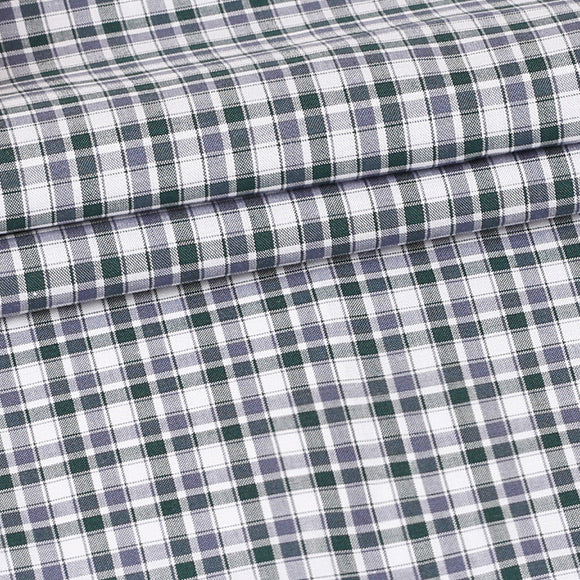 Green and Grey Plaid Custom Shirt Fabric - 100% Cotton