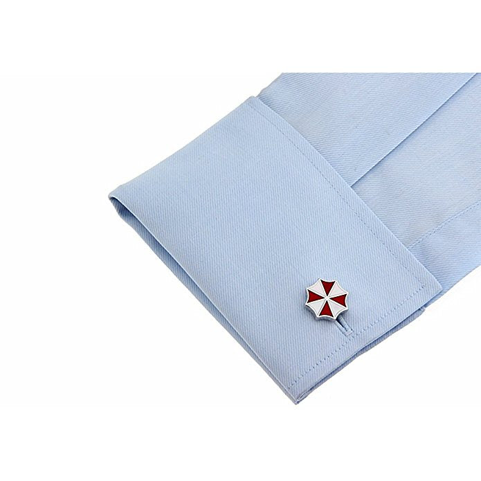 Red and White Enamel Cuff Links