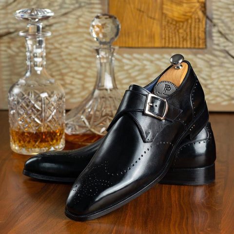 Paul Parkman Wingtip Single Monkstraps Black
