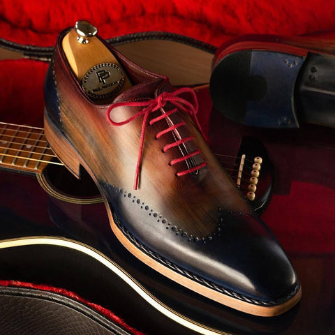 Paul Parkman Men's Wingtip (Navy Red Black)