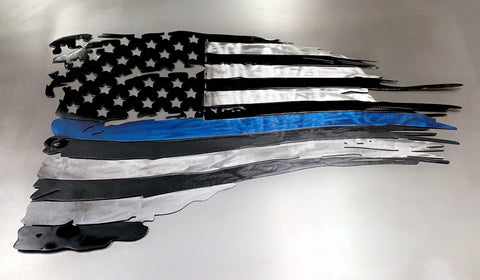Thin Blue Line Tattered U.S. Flag