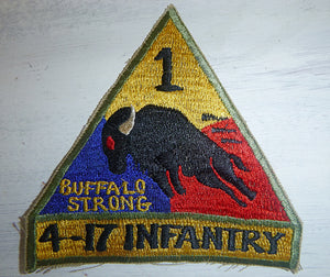 BUFFALO STRONG - Patch - US ARMY - 4th Battalion - 17th Infantry Regiment - Motto Truth and Courage - 1970 Patch - Vietnam War - 1st Armored Division - TASK FORCE BUFFALO