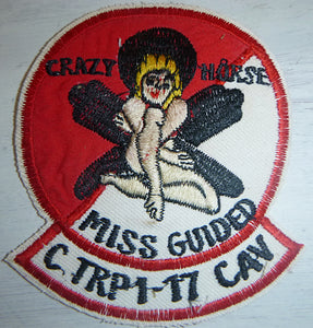 CRAZY HORSE - MISS GUIDED - Flight Patch - US AIR CAVALRY - Charlie Troop - C Troop - 1st Squadron - 17th Cavalry Regiment - United States Army