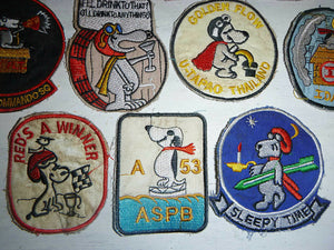 SNOOPY - Lot x 10 VIETNAM WAR PATCH - MACV-SOG - US AIR FORCE - SEALs - GOLDEN FLOW DRUG TEST - THAILAND - I'll Drink to Anything - SLEEPY TIME - BIRD DOG - RED'S a WINNER