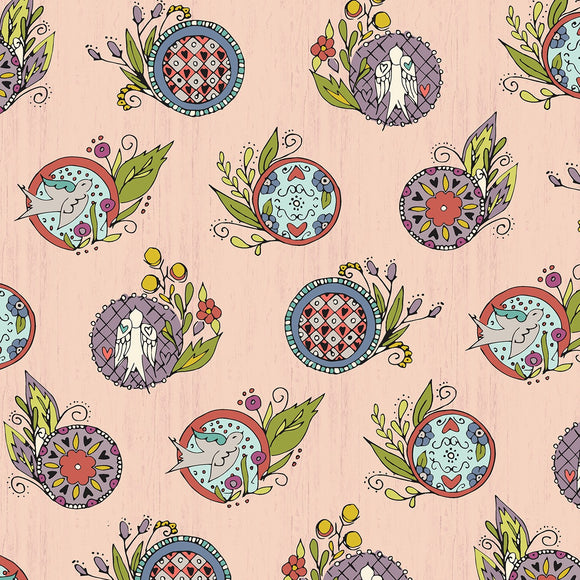 Bubbies Buttons and Blooms-Pink Medallion