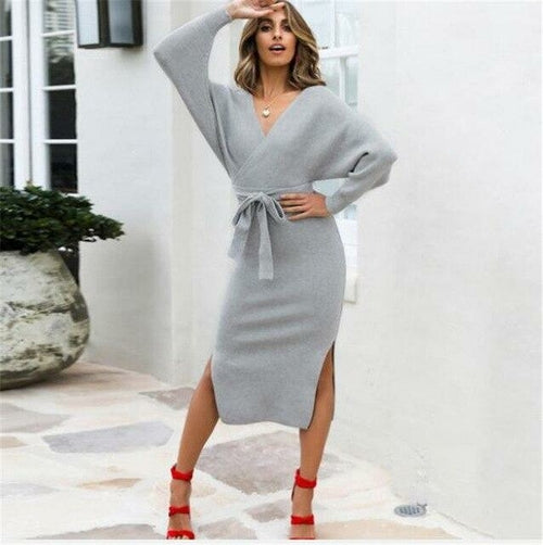 Sexy Autumn V Neck With Cross Belt Sweater Knitted Women Dress