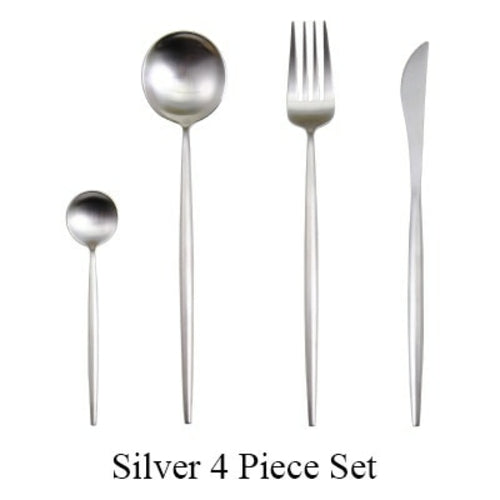 4Pcs/set Black Cutlery Set Stainless Steel Dinnerware Set Gold