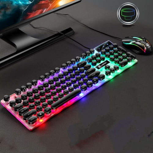 Punk retro keyboard and mouse set