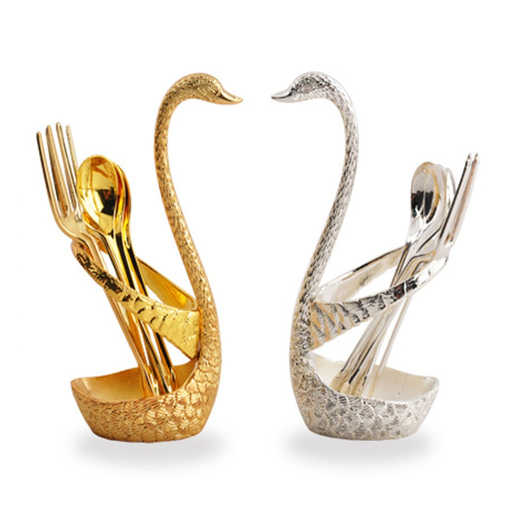 7 Pcs Swan Fruit Base Holder Forks Set Stainless Steel Salad Dessert