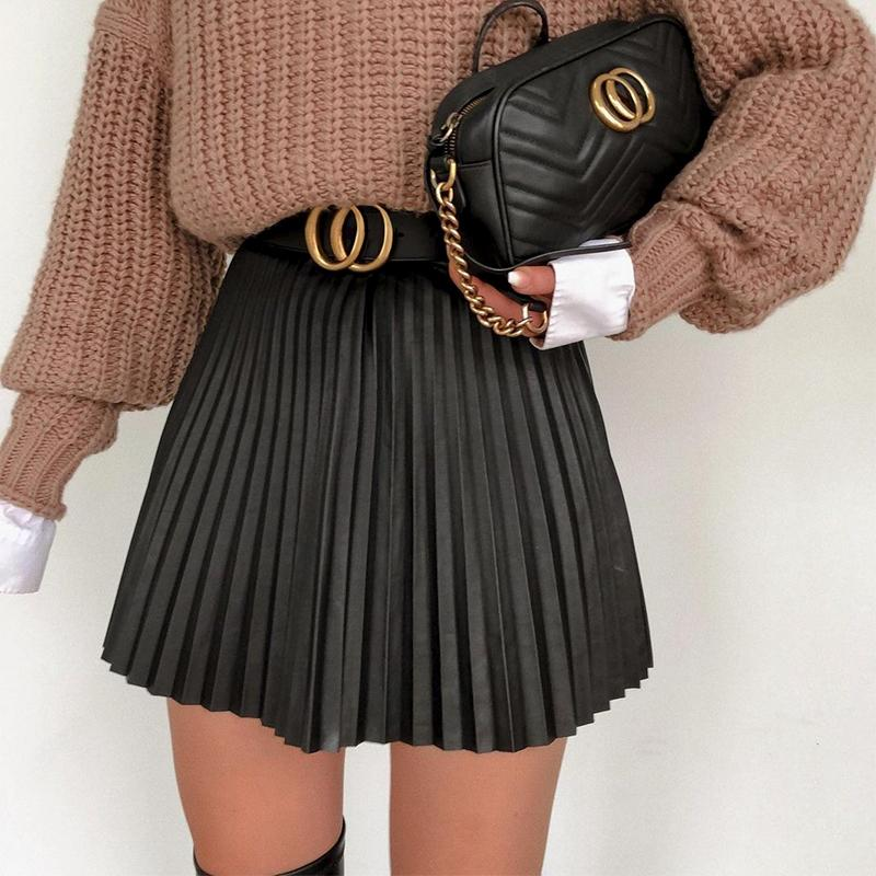 Fashion black autumn winter women faux short skirt A-line high street