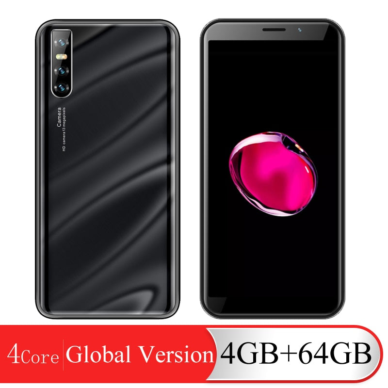 A60 Smart Phones Android 4GB RAM 64GB ROM Quad Core Face Unlocked Cell Phones 6.0 inch HD Full Screen WCDMA/GSM 13MP Rear Camera