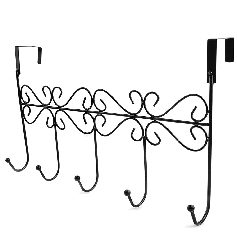 Bathroom Kitchen Over Door Hanger Rack 5 Hooks