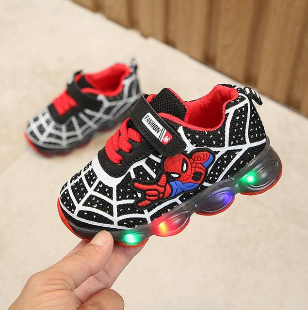 Boys Sneaker Girls Spiderman Kids Led Shoes