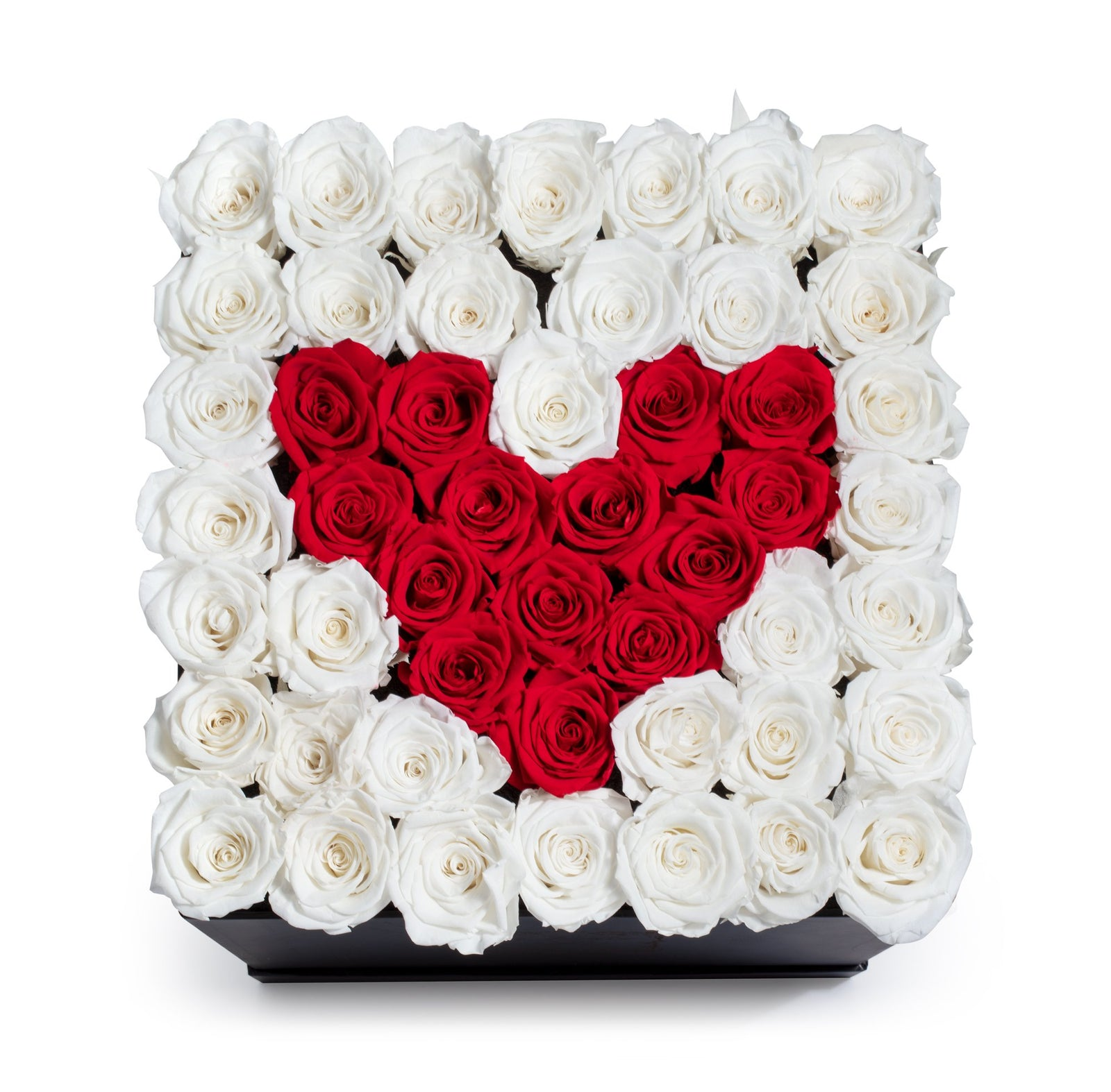Heart Design Red & White Preserved Roses - Large Square Luxury Black