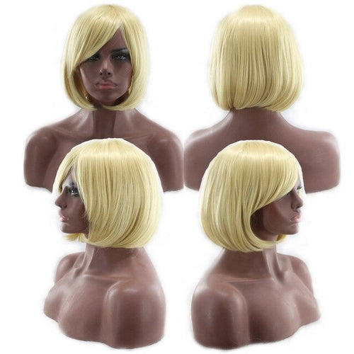 Cheap Bob Wig With Bangs Red Pink Blue Purple