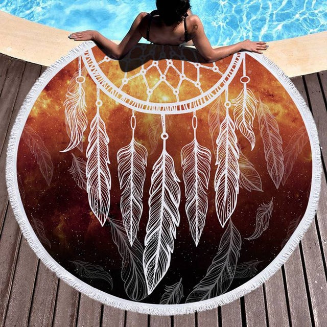 Dream Catcher Round Fringe Beach Towel Yoga Mat
